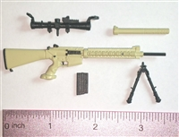 "SOPMOD Sniper Rifle with Scope, Bipod, Suppressor & Ammo Mag TAN & BLACK Version - ""Modular"" 1:12 Scale Weapon for 6 Inch Action Figures"
