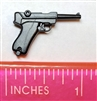 P08 LUGER 9mm Automatic Pistol BLACK Version - 1:12 Scale Weapon for 6 Inch Action Figures