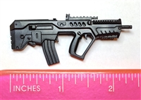 "IDF-T Assault Rifle w/ Mag BLACK Version BASIC - ""Modular"" 1:12 Scale Weapon for 6 Inch Action Figures"