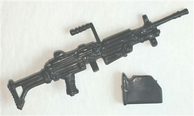M249 SAW Squad Automatic Weapon w/ Ammo Case BLACK Version - 1:18 Scale Weapon for 3 3/4 Inch Action Figures