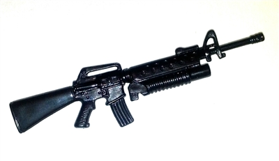 M-16 Assault Rifle with M203 Grenade Launcher BLACK Version - 1:18 Scale Weapon for 3 3/4 Inch Action Figures