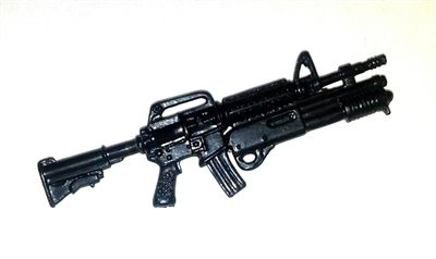 M-4 Carbine Assault Rifle with Shotgun BLACK Version - 1:18 Scale Weapon for 3 3/4 Inch Action Figures