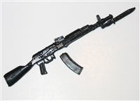 AK-47 / 74 Assault Rifle w/ BAYONET and Removable Ammo Mag - 1:18 Scale Weapon for 3 3/4 Inch Action Figures
