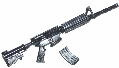 "M4 Carbine Assault Rifle with Ammo Mag BLACK Version BASIC - ""Modular"" 1:18 Scale Weapon for 3-3/4 Inch Action Figures"