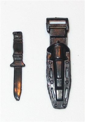 Fighting Knife with Sheath BLACK Hard Plastic- 1:18 Scale Weapon for 3 3/4 Inch Action Figures