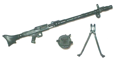 MG-34 Heavy Machine Gun with Ammo Drum & Bipod - 1:18 Scale Weapon for 3-3/4 Inch Action Figures