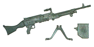 "M240 Bravo Machine Gun w/ Bipod & Ammo Case BLACK Version - ""Modular"" 1:18 Scale Weapon for 3-3/4 Inch Action Figures"