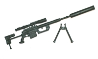 "M200 Sniper Rifle with Scope, Silencer & Bipod BLACK Version - ""Modular"" 1:18 Scale Weapon for 3-3/4 Inch Action Figures"