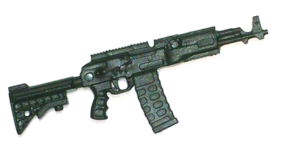 "AKM Assault Rifle w/ Mag BLACK Version BASIC - ""Modular"" 1:18 Scale Weapon for 3-3/4 Inch Action Figures"
