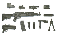 "AKM Assault Rifle with Accessories BLACK Version DELUXE - ""Modular"" 1:18 Scale Weapon for 3-3/4 Inch Action Figures"