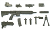 "FOS Assault Rifle with Accessories BLACK Version DELUXE - ""Modular"" 1:18 Scale Weapon for 3-3/4 Inch Action Figures"