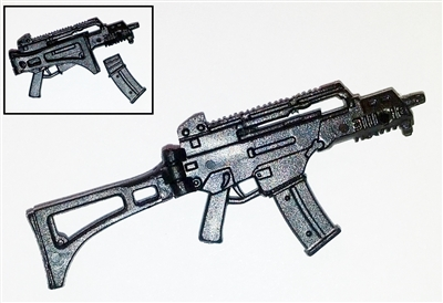 "COMMANDO Assault Rifle w/ Mag BLACK Version BASIC - ""Modular"" 1:18 Scale Weapon for 3-3/4 Inch Action Figures"