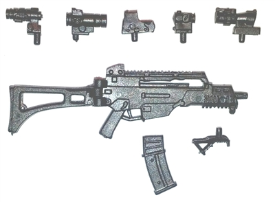 "COMMANDO Assault Rifle with Accessories BLACK Version DELUXE - ""Modular"" 1:18 Scale Weapon for 3-3/4 Inch Action Figures"