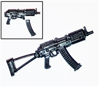 "AKs74u Assault Rifle w/ Mag BLACK Version BASIC - ""Modular"" 1:18 Scale Weapon for 3-3/4 Inch Action Figures"