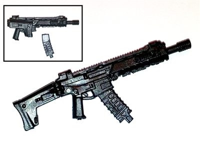 "ACR Assault Rifle w/ Mag BLACK Version BASIC - ""Modular"" 1:18 Scale Weapon for 3-3/4 Inch Action Figures"