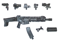 "ACR Assault Rifle w/ Accessories BLACK Version DELUXE - ""Modular"" 1:18 Scale Weapon for 3-3/4 Inch Action Figures"