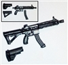 "FO6c Compact Assault Rifle w/ Mag BLACK Version BASIC - ""Modular"" 1:18 Scale Weapon for 3-3/4 Inch Action Figures"