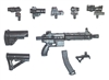 "FO6c Compact Assault Rifle with Accessories BLACK Version DELUXE - ""Modular"" 1:18 Scale Weapon for 3-3/4 Inch Action Figures"