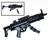 "SWAT Machine Gun w/ Mag & Working Stock BLACK Version BASIC - ""Modular"" 1:18 Scale Weapon for 3-3/4 Inch Action Figures"
