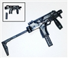 "T9 Submachinegun with WORKING Stock BLACK Version - ""Modular"" 1:18 Scale Weapon for 3-3/4 Inch Action Figures"