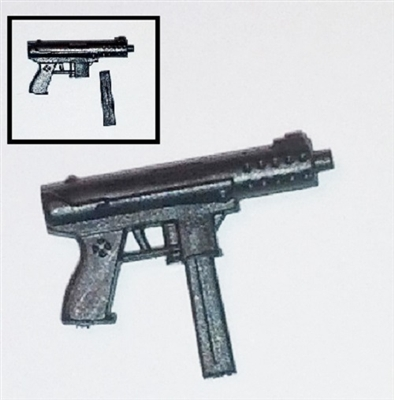 Tek-9 Machine Pistol with Mag BLACK Version - 1:18 Scale Weapon for 3-3/4 Inch Action Figures