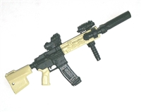 "FO6R Assault Rifle w/ Mag TAN & BLACK Version DELUXE - ""Modular"" 1:18 Scale Weapon for 3-3/4 Inch Action Figures"