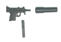 "MAC-10 Machine Gun w/ Mag & Silencer BLACK Version BASIC - ""Modular"" 1:18 Scale Weapon for 3-3/4 Inch Action Figures"