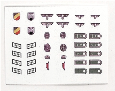 WWII MTF: German Army Wehrmacht Insignia Die-Cut Sticker Sheet #1 - 1:18 Scale Accessories for 3 3/4 Inch Action Figures