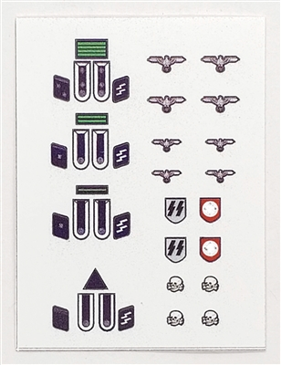 WWII MTF: German Army Elite Insignia Die-Cut Sticker Sheet #2 - 1:18 Scale Accessories for 3 3/4 Inch Action Figures