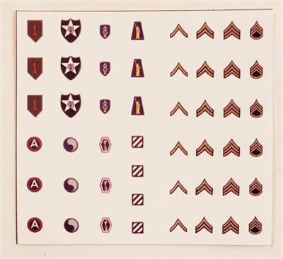 WWII MTF: US Army Insignia Die-Cut Sticker Sheet #1 - 1:18 Scale Accessories for 3 3/4 Inch Action Figures