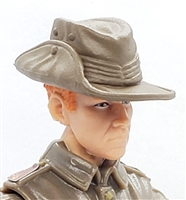 "WWII British: BROWN ""Aussie"" Bush Hat  - 1:18 Scale Modular MTF Accessory for 3-3/4"" Action Figures"
