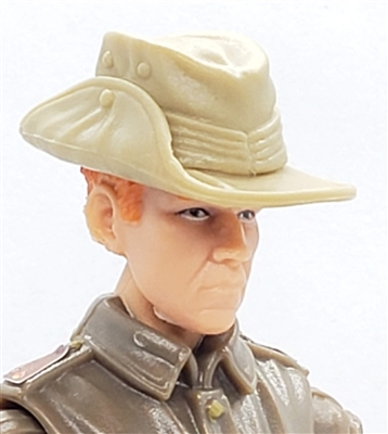 "WWII British: TAN ""Aussie"" Bush Hat  - 1:18 Scale Modular MTF Accessory for 3-3/4"" Action Figures"