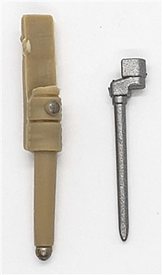 "WWII British:  Spike Bayonet with Sheath - 1:18 Scale Modular MTF Accessory for 3-3/4"" Action Figures"