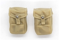 "WWII British:  SMALL Ammo / Utility Pouches (Set of TWO) P37- 1:18 Scale Modular MTF Accessories for 3-3/4"" Action Figures"