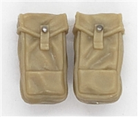 "WWII British:  LARGE Ammo / Utility Pouches (Set of TWO) P37 - 1:18 Scale Modular MTF Accessories for 3-3/4"" Action Figures"