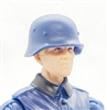 "WWII German: Blue M35 Helmet - 1:18 Scale Modular MTF Accessory for 3-3/4"" Action Figures"