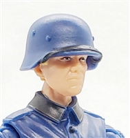 "WWII German: Blue M40 Helmet with Strap on Visor - 1:18 Scale Modular MTF Accessory for 3-3/4"" Action Figures"
