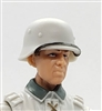 "WWII German: White M40 Helmet with Strap on Visor - 1:18 Scale Modular MTF Accessory for 3-3/4"" Action Figures"