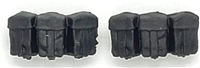 "WWII German:  Black Rifle Ammo Pouches (Set of TWO) - 1:18 Scale Modular MTF Accessories for 3-3/4"" Action Figures"