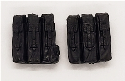 "WWII German:  BLACK MP40 Ammo Pouches (Set of TWO) - 1:18 Scale Modular MTF Accessories for 3-3/4"" Action Figures"