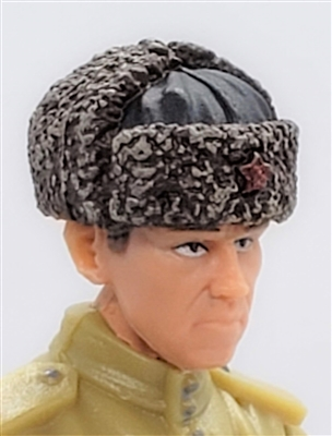 "WWII Russian: BROWN Fur Hat USHANKA - 1:18 Scale Modular MTF Accessory for 3-3/4"" Action Figures"