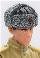 "WWII Russian: GRAY Fur Hat USHANKA - 1:18 Scale Modular MTF Accessory for 3-3/4"" Action Figures"