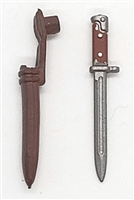 "WWII Russian:  Bayonet / Fighting Knife with Sheath - 1:18 Scale Modular MTF Accessory for 3-3/4"" Action Figures"