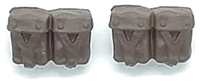 "WWII Russian:  Rifle Ammo Pouches (Set of TWO) - 1:18 Scale Modular MTF Accessories for 3-3/4"" Action Figures"