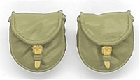 "WWII Russian:  Ppsh Machine Gun Drum Ammo Pouches (Set of TWO) - 1:18 Scale Modular MTF Accessories for 3-3/4"" Action Figures"