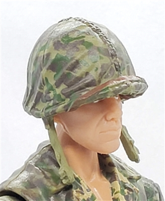 "WWII US Marine: M1 Helmet with CAMO Cloth Cover - 1:18 Scale Modular MTF Accessory for 3-3/4"" Action Figures"