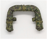 "WWII US Marine:  Rolled Up Poncho/Tent (CAMO) for Backpack - 1:18 Scale Modular MTF Accessory for 3-3/4"" Action Figures"