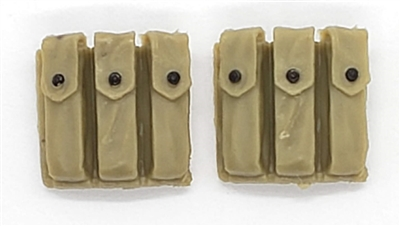 "WWII US:  Sub-Machine Gun Gun Ammo Pouches (Set of TWO) - 1:18 Scale Modular MTF Accessories for 3-3/4"" Action Figures"