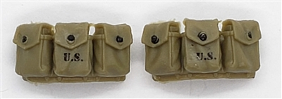 "WWII US:   BAR Rifle Ammo Pouches (Set of TWO) - 1:18 Scale Modular MTF Accessories for 3-3/4"" Action Figures"