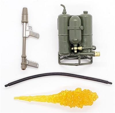 "WWII US: M2 Flamethrower with Fuel Tanks, Hose and ""FLAME"" - 1:18 Scale Modular MTF Accessory for 3-3/4"" Action Figures"
